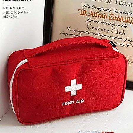 Hanbaili Borsa di pronto soccorso compatta rossa solo borsa cassetta di pronto soccorso vuota Custodia di emergenza di viaggio di emergenza medica da viaggio