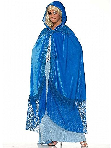 [Forum Novelties Women's Medieval Fantasy Elegant Cape with Lace, Sapphire, One Size] (Halloween Costumes To Find In Your Closet)
