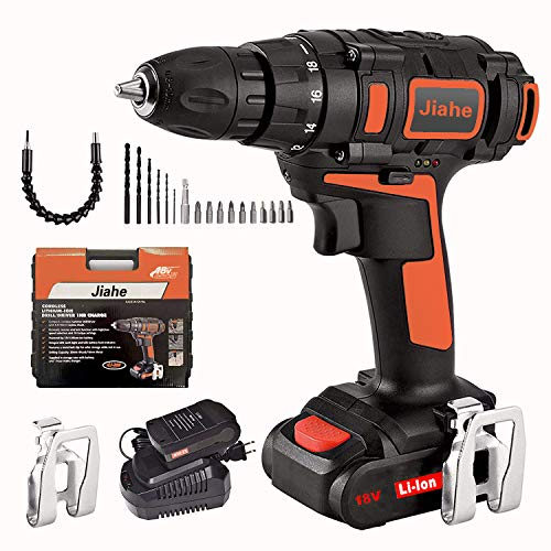 Jiahe Cordless Drill Driver 18v with Lithium Batteries,18+1 Torque Setting, 1 Faster Charger,LED, compact bag with 20pcs…