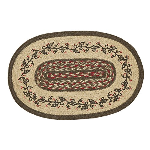 VHC Brands Christmas Holiday Tabletop & Kitchen - Holly Berry Jute Red Stenciled Oval Placemat Set of 6, 12 x 18