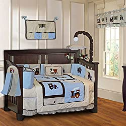 BabyFad Train 10 Piece Baby Boy's Crib Bedding Set