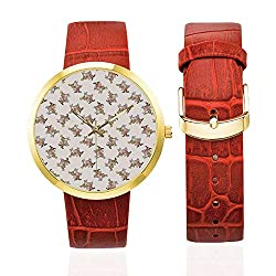Alice in Wonderland Fashion Women's Golden Leather Strap Watch,White Rabbit Playing Music Fiction Fantastic Home Wall Alice for Womans,Case Diameter: 40mm