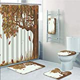 Bathroom 5 Piece Set Shower Curtain 3D Print,Tree of Life,Autumn Season Fall Shady Deciduous Oak Leaves in Park Countryside Artwork,Umber Redwood,Bath Mat,Bathroom Carpet Rug,Non-Slip,Bath Towls