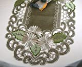 Embroidered Table Runner with Daisy Flowers on Brown, 14 by 34 Inch, Machine Washable