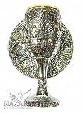 Silver Plated Chalice Jerusalem Goblet Hoshen Stones Holyland