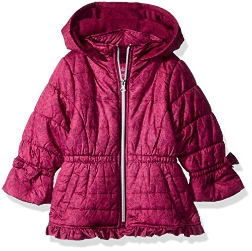 Pink Platinum Baby Girls Lace Puffer with Ruffle, Berry 24M