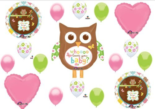 Whoo Loves You Baby Shower Girl Balloons Decorations Supplies -