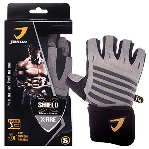 Kuron Store X-Fire Full Palm Grip Wrist Support Weight Training Cycling Leather Gloves