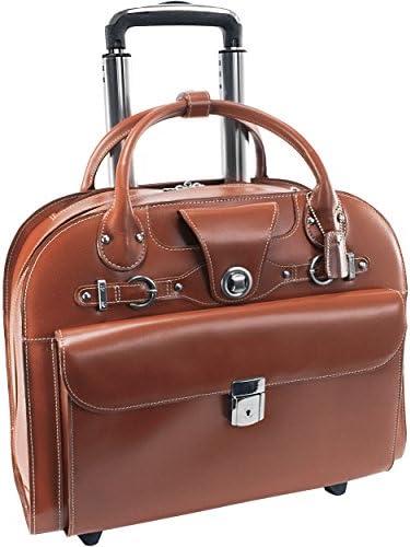 McKlein, L Series, EDGEBROOK, Top Grain Cowhide Leather, 15 Leather Wheeled Ladies Laptop Briefcase, Brown 96314