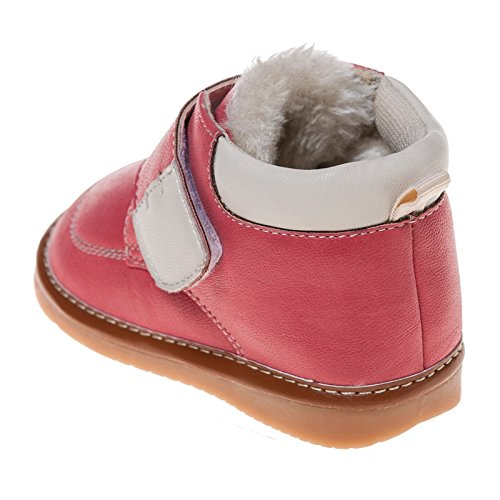 Little blue lamb squeaky chaussures bottes fourrées homards rouge/rose