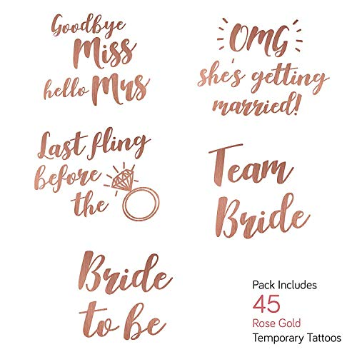 Rose Gold Bachelorette Party Temporary Tattoos - Pack of 45 - Bachelorette Night Accessories