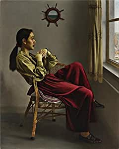 Cotton Canvas ,the Reproductions Art Decorative Canvas Prints of oil painting 'Li Guijun, By the Window,1993', 30x38 inch / 76x95 cm is best for Home Theater artwork and Home decoration and Gifts