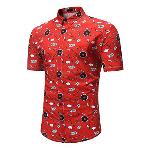 (Clearance Men's Blouse,ZYooh Fashion Floral Printed Tshirt Retro Slim Fit Business Tops Men's Novelty Dress Shirts (Red, M))