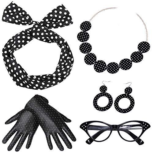 ArtiDeco 50s Accessories Bandana Tie Headband Chiffon Scarf Cat Eye Glasses 50s Earrings and Gloves 1950s Costume Accessories (Black-1) ()
