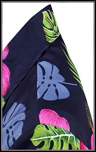 Signore Hawaiana Corte La Insabbiamento Camicia Leela Collare Blu Tasto Superiore Navy Maniche Beachwear Camicetta Gi� x40 zx7zawP