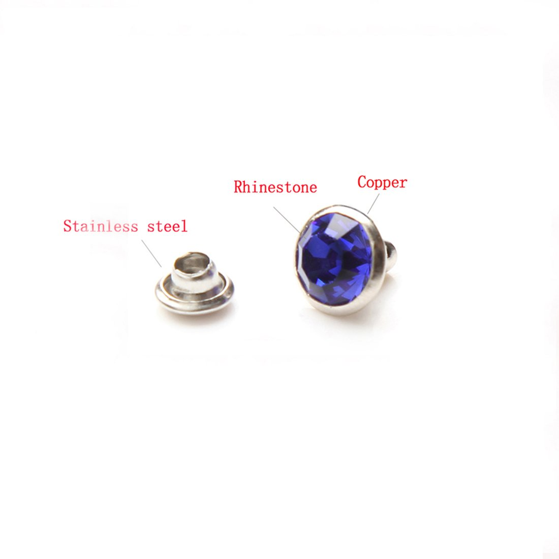 Royal Blue, 6MM 100 Sets Cz Colorful Crystal Rapid Rivets Silver Color Spots Studs Double Cap for DIY Leather-Craft