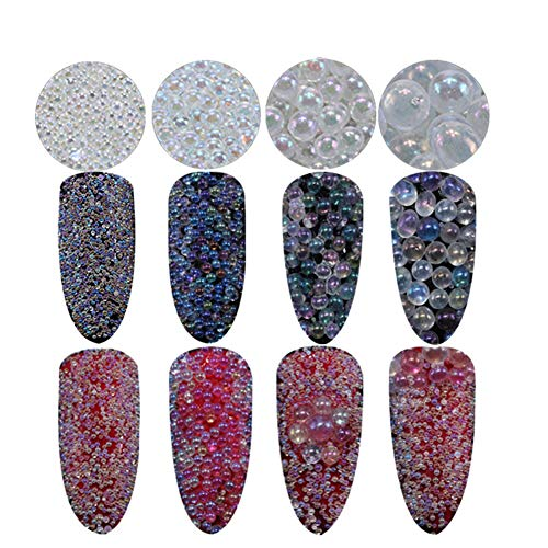 Bead Crystal Ab (Minejin Nail Art AB Crystal Glass Caviar Beads Tiny 3D DIY Micro Gems Manicure Decoration Tips 4Boxs)