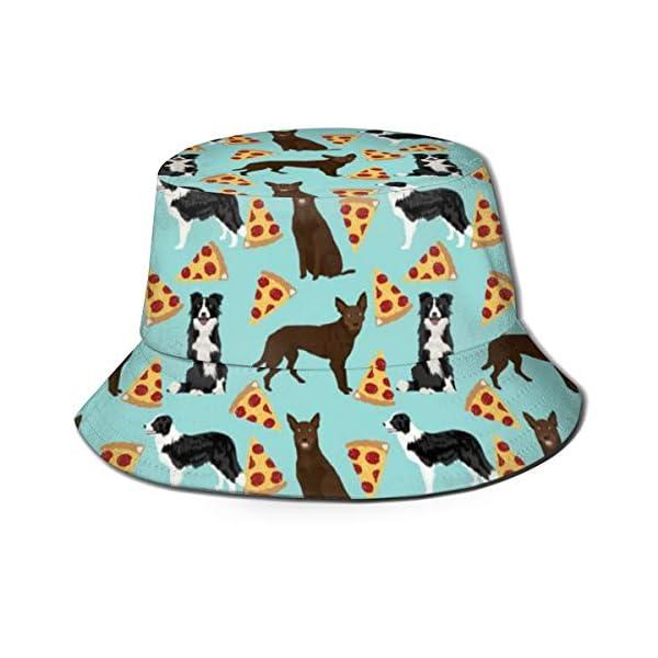 Bucket Hat Packable Reversible Australian Kelpie Border Collies Pizza Print Sun Hat Fisherman Hat Cap Outdoor Camping Fishing Safari for Men Women Black 1