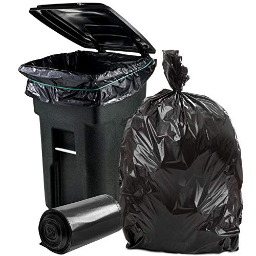 Plasticplace 64-65 Gallon Trash Can Liners for Toter │ 2.0 Mil │ Black Heavy Duty Garbage Bags │ Rolls │ 49 x 59 (50 Count)