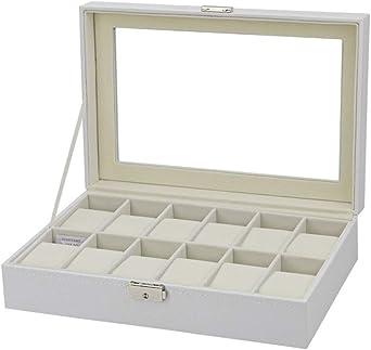 12 Compartimentos Caja De Relojes, Tapa De Cristal, Estuche para Relojes Y Joyeros, Blanco: Amazon.es: Relojes