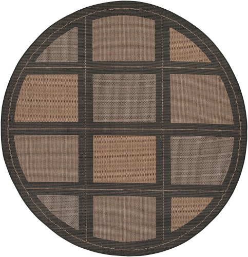 Natural Recife Summit Cocoa - Couristan 1043/2500 Recife Summit 7-Feet 6-Inch Round Rug, Cocoa Black
