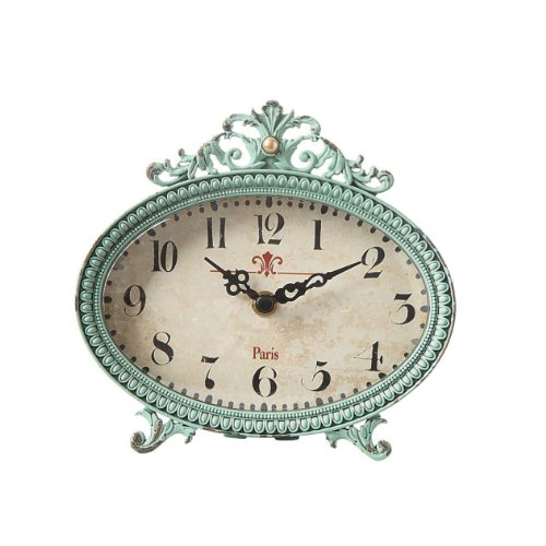 - Creative Co-op Green Antiqued Pewter Mantel Clock