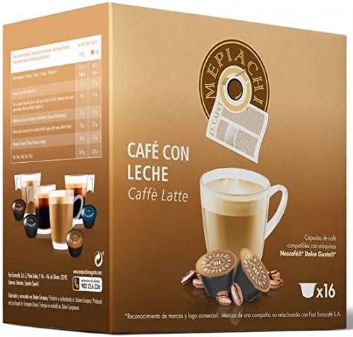 CAFÉ CON LECHE MEPIACHI, 16 CÁPSULAS COMPATIBLES DOLCE GUSTO
