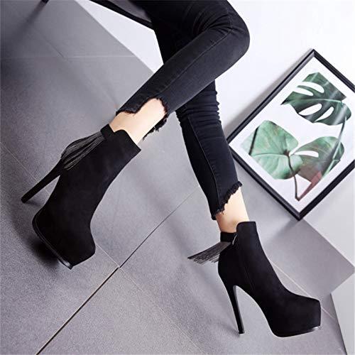 LBTSQ-Spitz Wasserdicht Dünne Sohle Hochhackigen Schuhe 12Cm Fransen Kurze Stiefel Stiefel Stiefel Und Ohne Stiefel. 5ce4fd