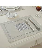 JIAN YA NA Bordslöpare handgjord elegant stil naturlig bordsduk med diamantremsa och tofsar för bröllop och helgdagar 4 Placemats BEIgE