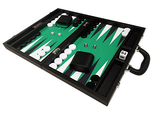 Silverman 16-Inch Black Board Green Playing Surface Backgammon Set with White and Black Points - Medium