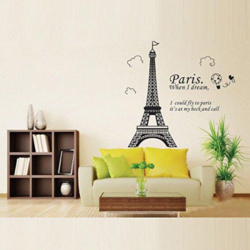 Home Decoration Romatic Paris Eiffel Tower Wall Decals - Street Paris Shopping