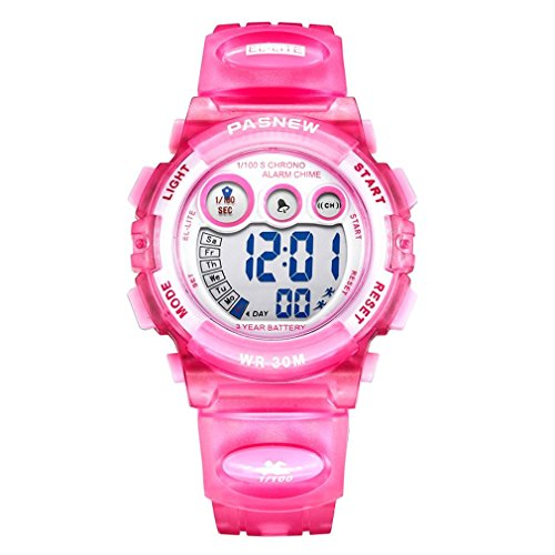Price comparison product image Dayllon Kids outdoor Sports Wrist Watch Boys Girls LED Digital Quartz Wacthes for 5-12 Years Old Children(Pink) #Pdyl-5