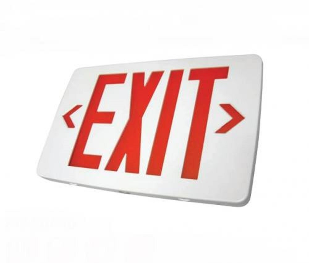 Ultra Thin LED Exit Sign Emergency Light Lighting Emergency LED Light//Battery Back-up//Double Face//White Housing//UL Certified Red Letters
