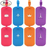 Bulk Luggage Tags, Identifiers Labels For Travel Suitcases, Cruise Baggage Silicone Tag Set 8 Pack