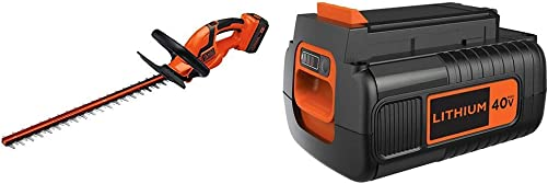 BLACK DECKER 40V MAX Cordless Hedge Trimmer with Extra Battery, 2.0-Ah LHT2436 LBX2040