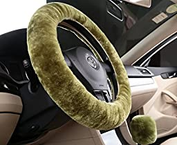 U&M Warm Winter Wool Sheepskin Stretch-on Vehicle Steering Wheel Cover Car Wheel Cushion Protector Available for 35cm-43cm Steering Wheel in Diameter (pea green)