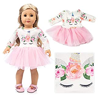 "American Girls Doll Unicorn Clothes Outfit Pajamas 18 Inch Unicorn American Girls Doll Clothes and Accessories for 18"" American Girls Dolls Clothes ,My Life Girls Doll Clothes Baby Journey Accessories"