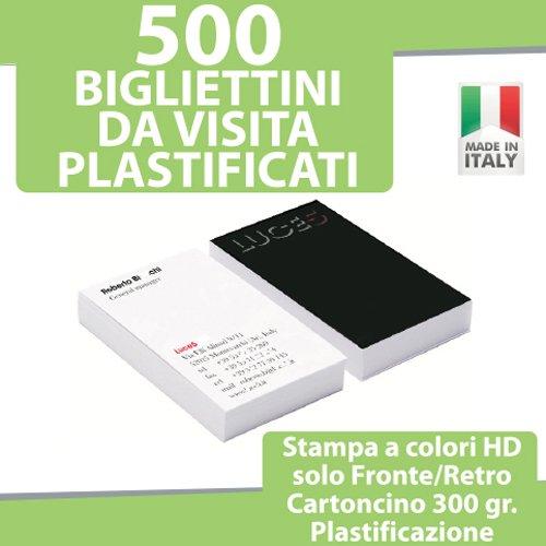500 BIGLIETTI DA VISITA Bigliettini STAMPA FRONTE RETRO a COLORI + PLASTIFICAZIONE FRONTE RETRO personalizzati printerland.it