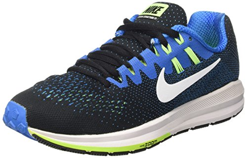 NIKE Men's Air Zoom Structure 20 Black/White/Photo Blue Running Shoe 8 Men US (Cycling Shoes Womens Nike)