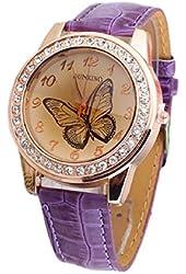 Bestpriceam® New Butterfly Diamond Watch Gold Dial Leather Band Quartz Wrist Watch Purple