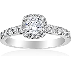1ct Cushion Halo Diamond Engagement Ring 14K White Gold