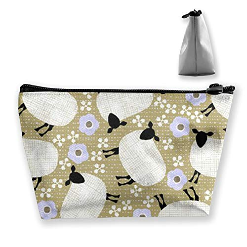 SLADDD1 Cartoon Sheep Makeup Pouch Toiletry Cosmetic Bag Clutch - Multifuncition Storage Organizer with Zipper