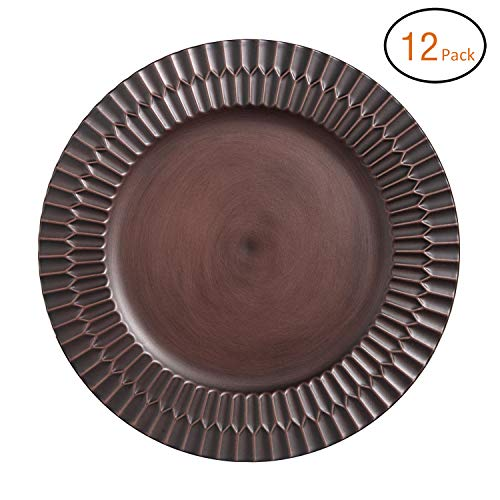 FANTASTIC :) Round 13 Inch Plastic Charger Plates With Antique brushed Finsh (12, Rim)