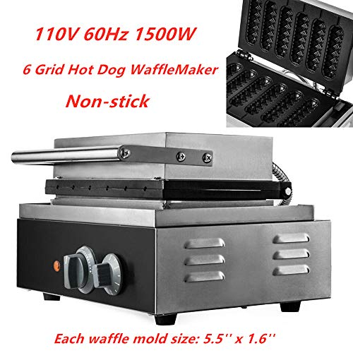 HYYKJ Commercial Electric Hot Dog Lolly Waffle Maker Crispy 6 Grid Non-Stick Crispy Baking Sausage Corn Dog Muffin Maker Machine 110V 1500W