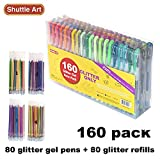 160 Pack Glitter Gel Pens Set, Shuttle Art 220% Ink Glitter Gel Pen 80 Colored Gel Pens plus 80 Refills for Adult Coloring Books Craft Doodling