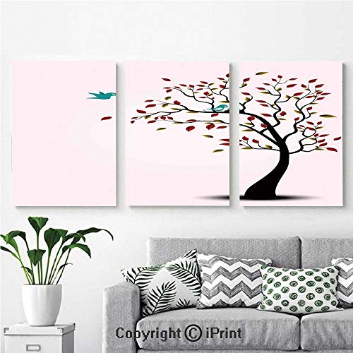 Wall Art Decor 3 Pcs High Definition Printing Cute Bird Family on The Windy Tree Floral Branches Baby Mother Happiness Decorative Art Painting Home Decoration Living Room Bedroom -