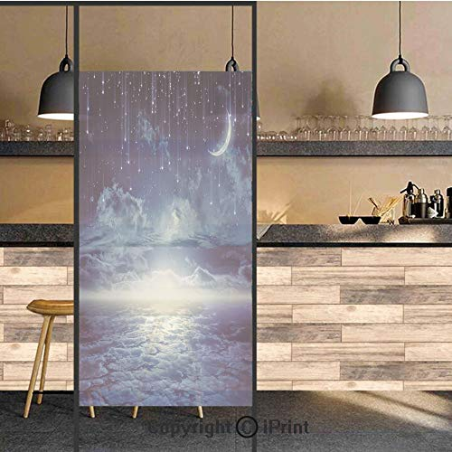 3D Decorative Privacy Window Films,Nocturnal Sky Full Moon Clouds Star Rain Crescent Lunar Image,No-Glue Self Static Cling Glass Film for Home Bedroom Bathroom Kitchen Office 24x48 Inch