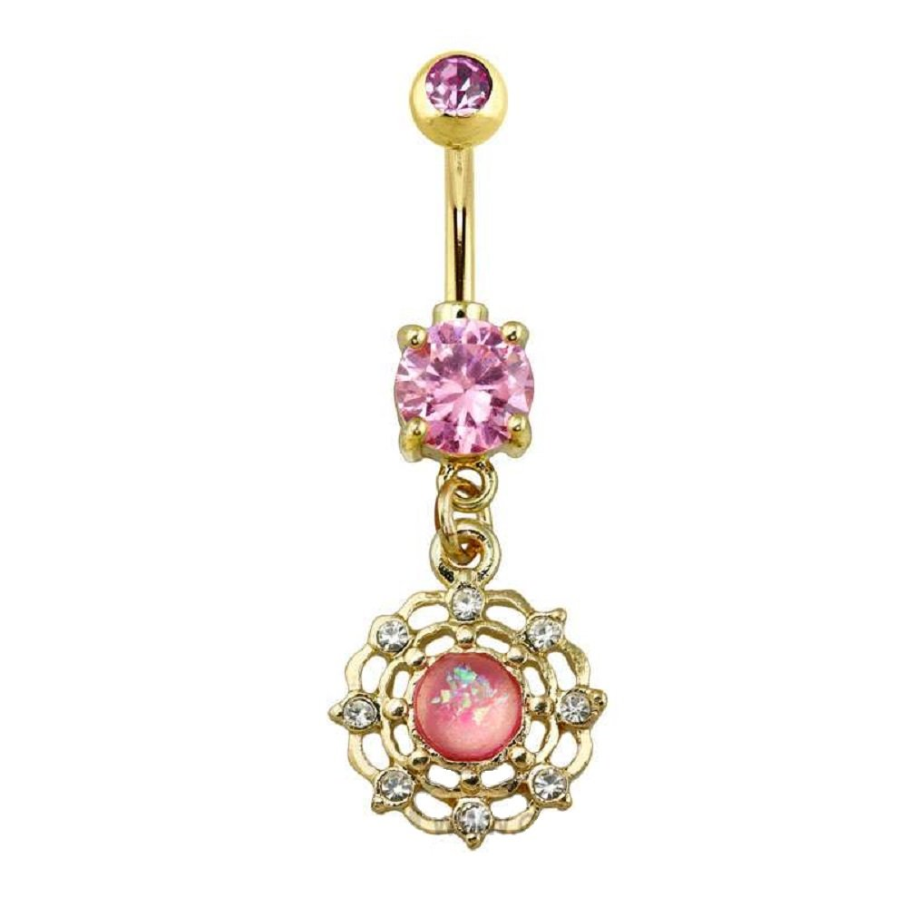 Prong Set Gold Plated Pink Glitter Opal CZ Spider Web Dangle 316L Surgical Steel Freedom Fashion Navel Ring