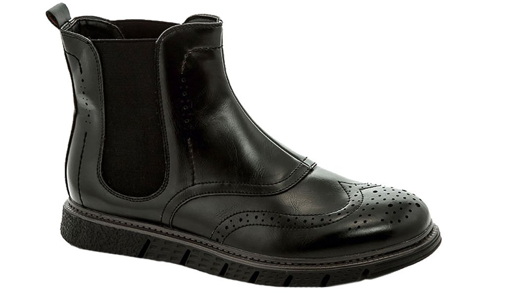 Adolfo Men's Haan Wing Tip Brogue Vegan Leather Ankle Boots Black Size 9.5