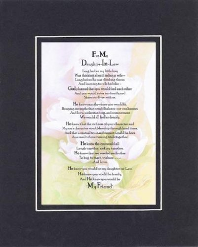 Touching and Heartfelt Poem for Daughters - to My Daughter-in-Law Poem on 11 x 14 Double Beveled Matting (Black on Black)